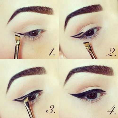 If your confident enough with a brush, you can create a flick with a small eye liner brush