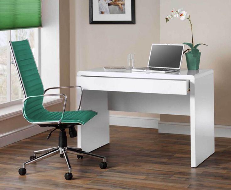 White Computer Desk - High Gloss for Home or Office