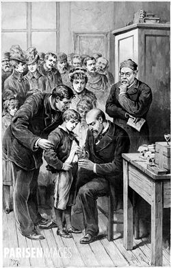 Séance de vaccination contre la rage, au laboratoire de la rue d'Ulm, par le docteur Grancher (1843-1907) et Louis Pasteur (1822-1895), chimiste et biologiste français. Gravure de Fortuné Louis Méaulle d'après un dessin de H. Meyer. Paris, 1886