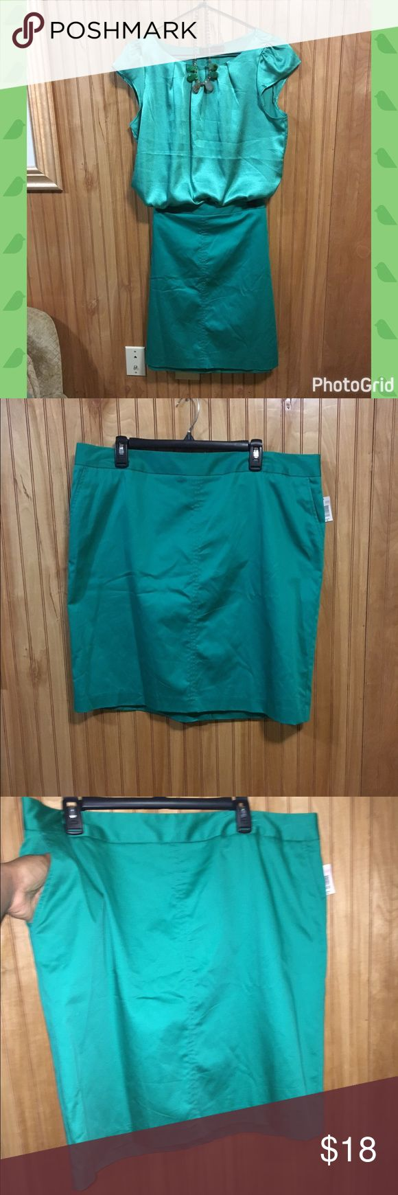 """🆕☘️Green Pencil Skirt Sz 18 Super cute Pencil skirt in green! It's a bit too short for me so I have to let it go. Knee length skirt with side hidden pockets! NWT. Measurements: Length=22.25"""", Waist=40"""", Hip=46"""". NWT. Sz 18 Attention Skirts Pencil"""