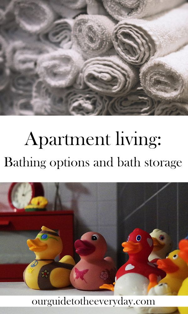Apartment living | small space living | baby bath | baby bath storage | bathing a baby | baby bathing options | how to bathe a baby | ourguidetotheeveryday.com