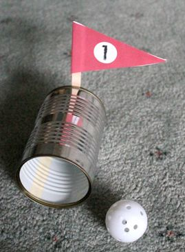 Indoor Golf - rainy day activity (Can be turned into mini golf - use large gift wrap tubes for tunnels, large beanbags or small pillows as obstacles, etc.)