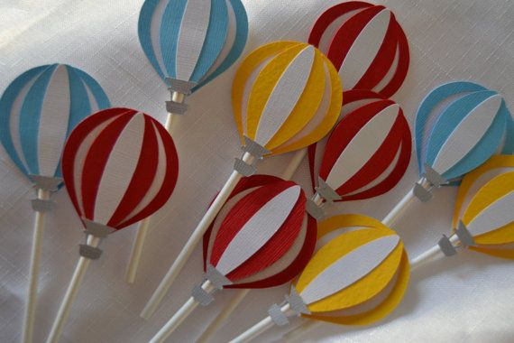 Hot Air Balloon cupcake toppers by MemoriesBlossom on Etsy, $15.00