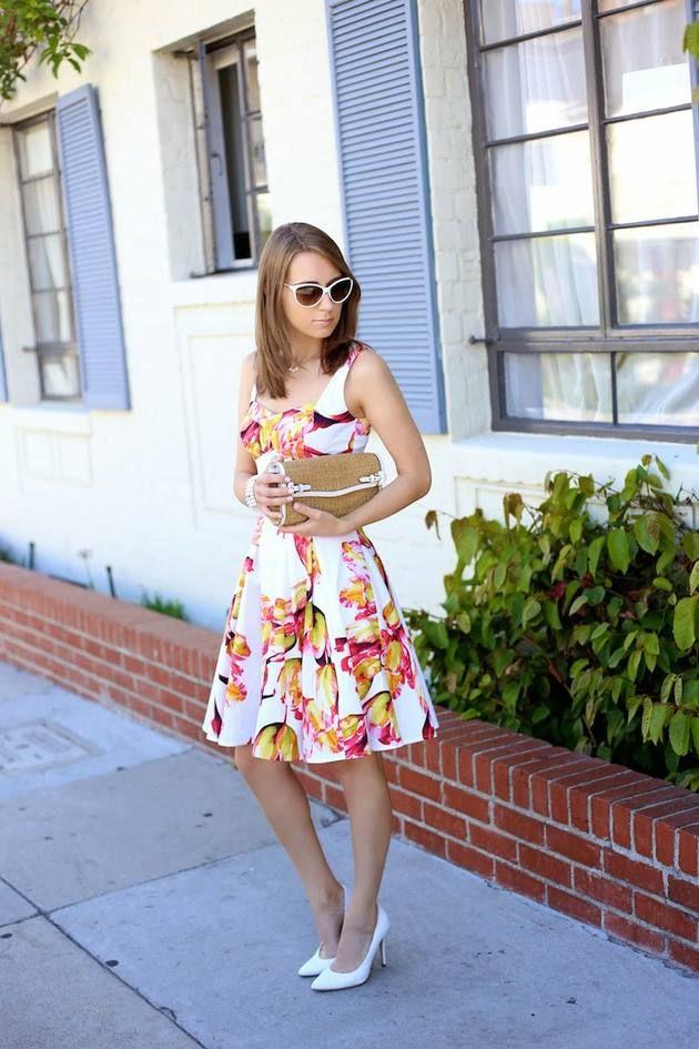 Karen Millen White Multi Tulip Print Skater Dress