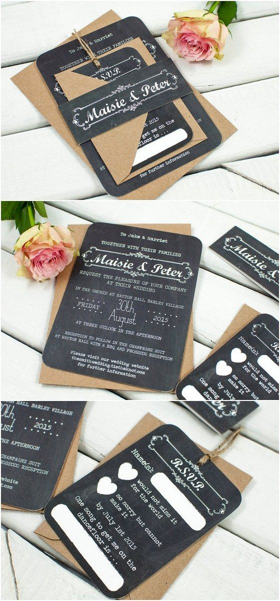 Rustic Chalkboard wedding invitation bundle