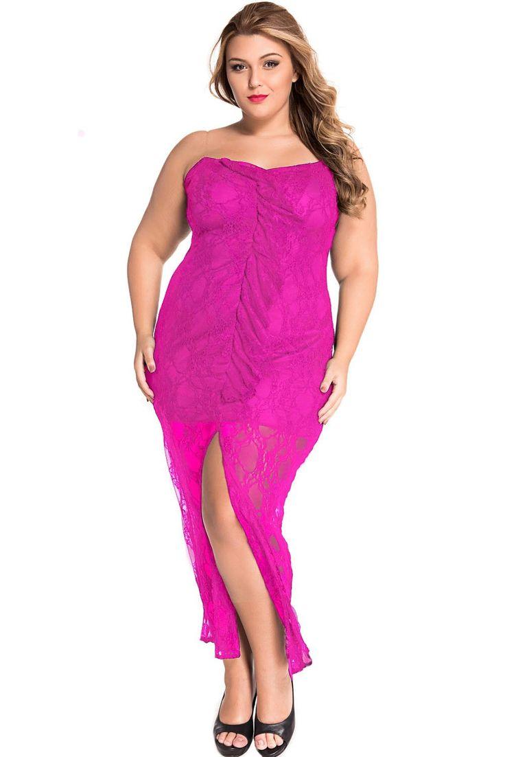 Grande Taille Robes Rose Volante Robe En Dentelle Curvy Bretelles Pas Cher www.modebuy.com @Modebuy #Modebuy #CommeMontre #Rose #dress #Grande
