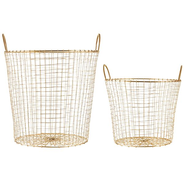 Gold wire baskets with two carry handles. This modern brass basket has endless options. Use as a waste paper basket, for holding logs, toys, dirty linen, shoes, or stowing away extra cushions and throws.