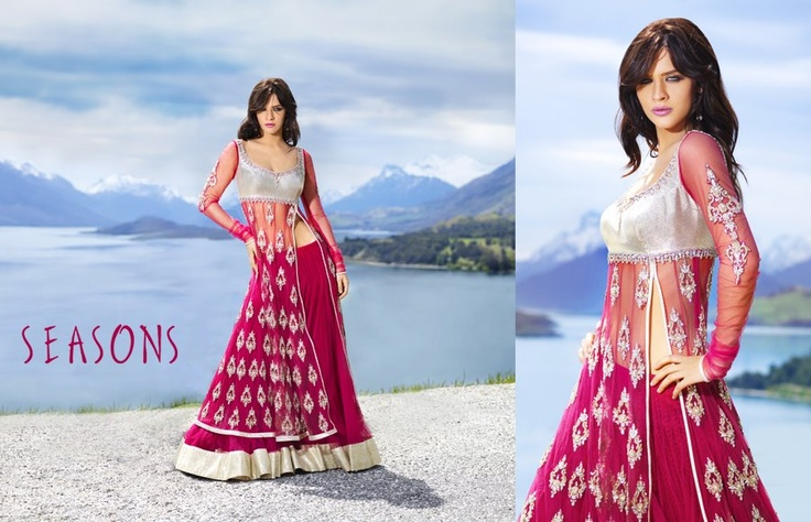 Magenta. It's so beautiful I love there collection ♥  Hindu / indian bride Wear saree, lehenga, choli from seasonsindia. the model is Neha Dalvi or maria sokolovski