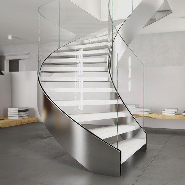 escalera helicoidal estructura de metal peldao de madera con zancas laterales exclusive