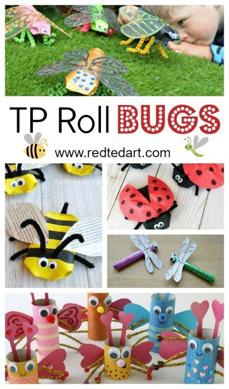 Bug TP Roll Crafts for Kids - oh how we love easy Toilet Paper Crafts for kids.. and here are some great TP Roll Ideas for Spring and Summer: make these darling BUG TP Roll Crafts. They are simply too adorable. Which to make first?