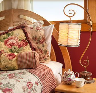 Red and Gold Roses French Country Bedding Quilt and Pillows