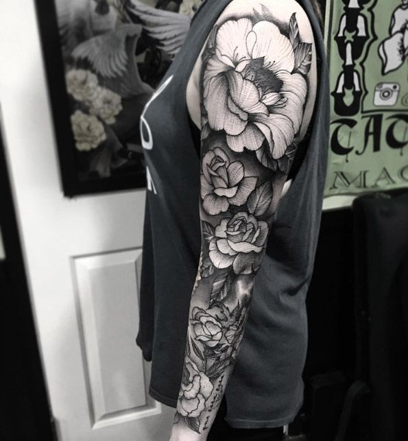 Floral full sleeve by Justin Hobson
