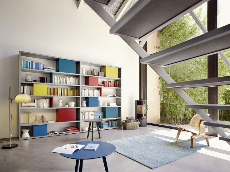 Modernes Bücherregal Mit Bunten Klapptüren   Individuell Nach Maß   #Books  #Bookshelf #Regal