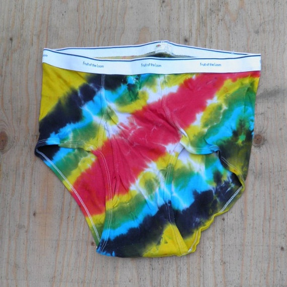 Groovy Tie Dye Underwear Fruit of the Loom Mens by madebyhippies, $10.00