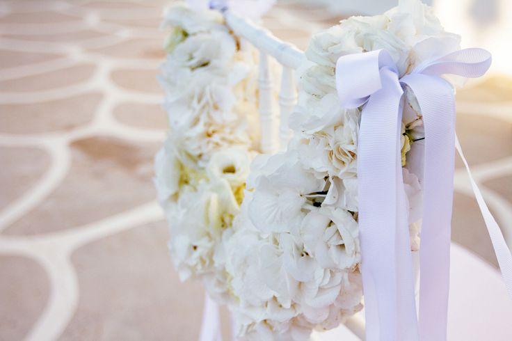 Romantic Church Decoration.. White flower garland made of hydrangeas decorating the chair !!!!