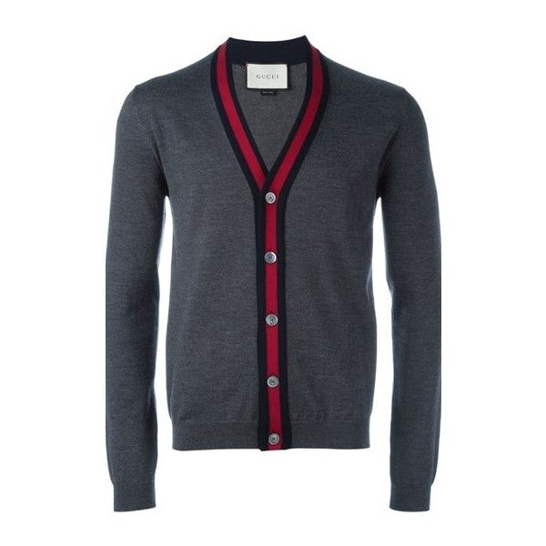 GUCCI V- Neck Gray Cardigan (497455 IQD) ❤ liked on Polyvore featuring men's fashion, men's clothing, men's sweaters, grey, mens cardigan sweaters, mens grey sweater, gucci mens sweater, men's v neck sweater and mens gray sweater
