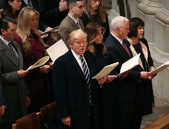 Donald Trump finally found his way inside a church, attending a prayer service at the Washington National Cathedral. The interfaith service is a presidential tradition and a clearly uncomfortable and fidgety Trump sat in the front row with this family,...
