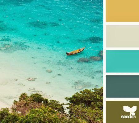 Une palette qui évoque l'environnement tropical. Sable, turquoise, vert profond des arbustes...