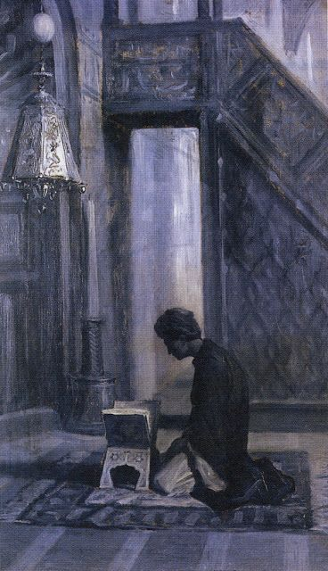 Charles Bargue :At His Devotion. Sketch. 1870-80. 50x30cm. Oil on panel