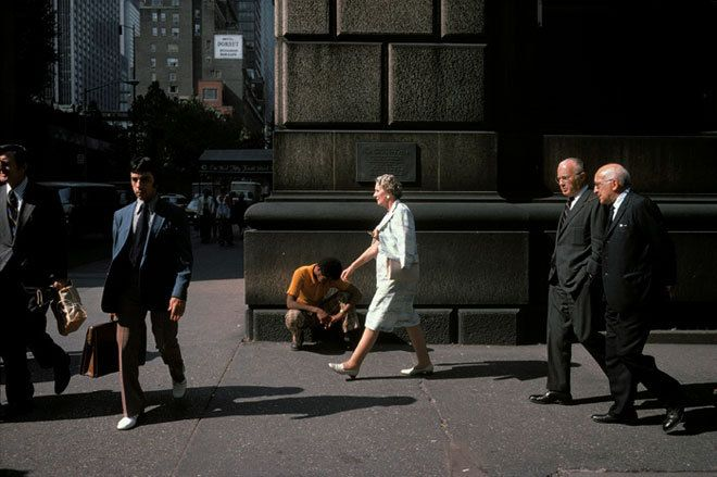 Joel Meyerowitz - The candid nature of this image mixed with the dramatic lighting creates a great sense of wonder and pushes narrative. The women stands out from her surroundings and becomes isolated. It is this manipulation of a mundane scene that i would like to create in my own work.