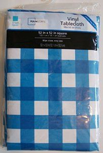 """Vinyl Flannel Backed Indoor Outdoor Tablecloth - Blue Check - Square - 52"""" x 52"""" - Visit to see more options"""