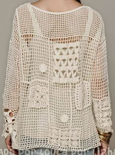 Crochet Free Form Patchwork Inspired Free People Fall Pullover - Charts and Instructions | Crochet patterns | Bloglovin'