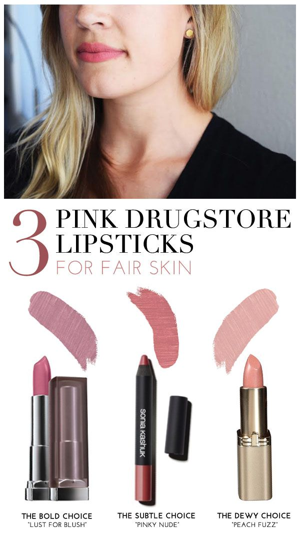 Tried & True: 3 Pink Drugstore Lipsticks For Fair Skin | theglitterguide.com -  Maybelline Creamy Matte Lip Color in Lust for Blush,   Sonia Kashuk Velvety Matte Lip Crayon in Pinky Nude,  L'Oréal Colour Riche Lipcolour in Peach Fuzz