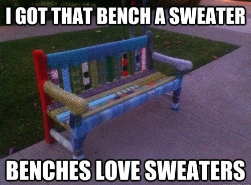 Benches Love SweatersSweaters, Crochet Funny, Funny Things, Benches, Adorable Funny, Humor, Yarnbombing, Yarns Bombs, Knits