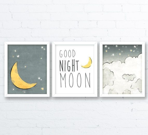 Moon Nursery Art – Stars and Moon Kids Room, Neutral Nursery, Grey Yellow Baby N…