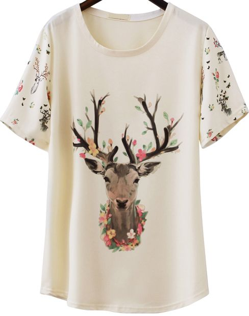 Shop Apricot Short Sleeve Deer Print Loose T-Shirt online. Sheinside offers Apricot Short Sleeve Deer Print Loose T-Shirt & more to fit your fashionable needs. Free Shipping Worldwide!