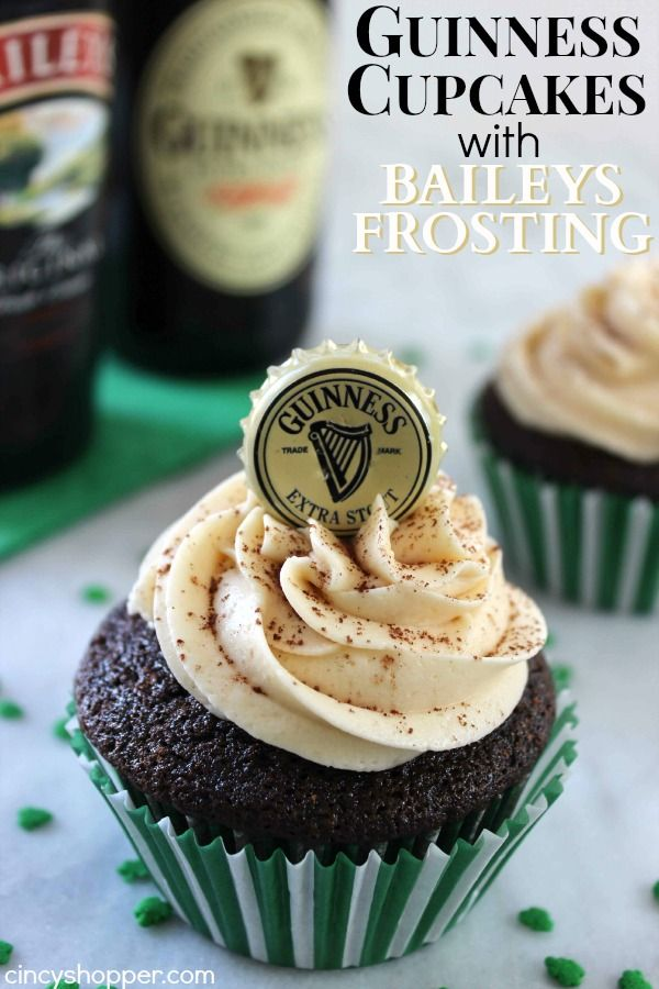 These Guinness Cupcakes with Baileys Frosting Recipe will be your new favorite St. Patrick's Day dessert. A chocolate cupcake with a bit of Guinness and th