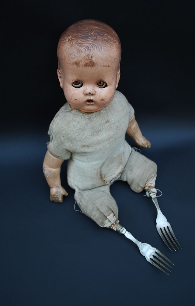 Found and altered doll, forks - by Martha Todd Ceramic Artist