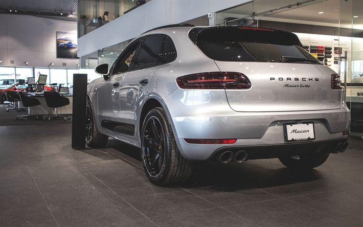 Télécharger fonds d'écran Porsche Macan, En 2017, le Sport SUV, de l'argent Macan, de nouvelles voitures, Porsche