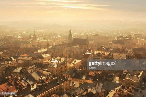 04-27 High angle view of Lviv old town with a church in the... #lviv: 04-27 High angle view of Lviv old town with a church in the… #lviv