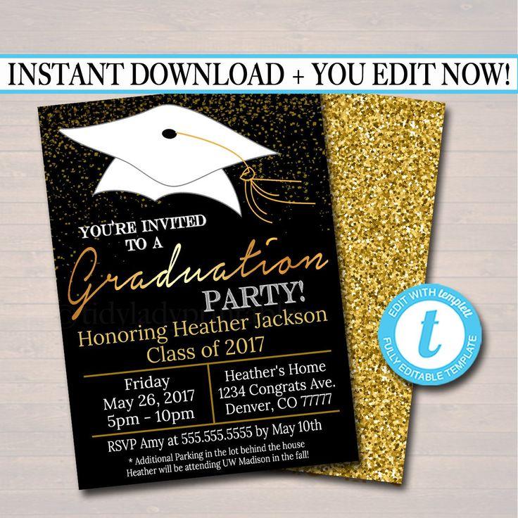EDITABLE Graduation Party Invitation, High School Graduation Invitation, DIY Digital Invite, College Graduation Invitation, Graduation Decor