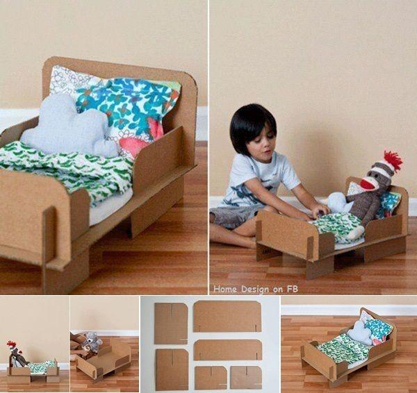 DIY Cardboard Bed For A Doll Or Teddy Bear
