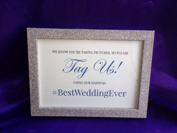 Funny Tag Us  Wedding Hashtag Sign and by BlingSparklesOhMy