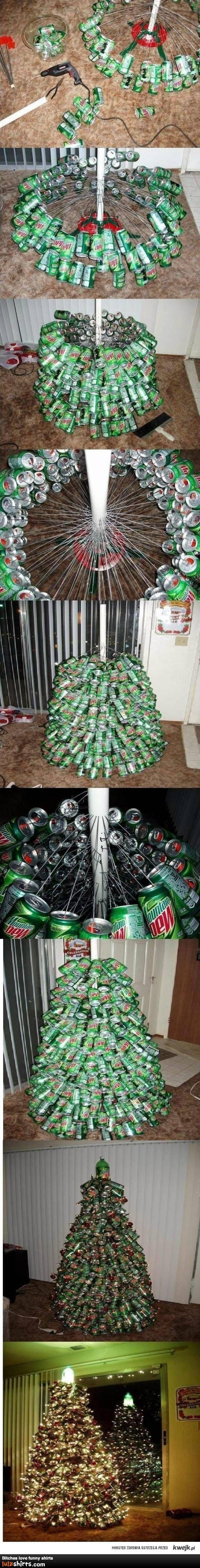 Mountain Dew Christmas Tree - Now that's some serious repurposing!