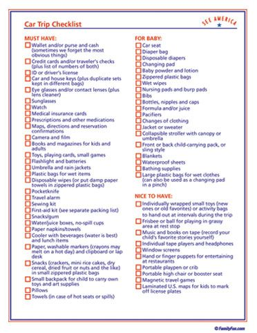 Car Trip Checklist in the event we actually get in the car and take a trip any time soon.