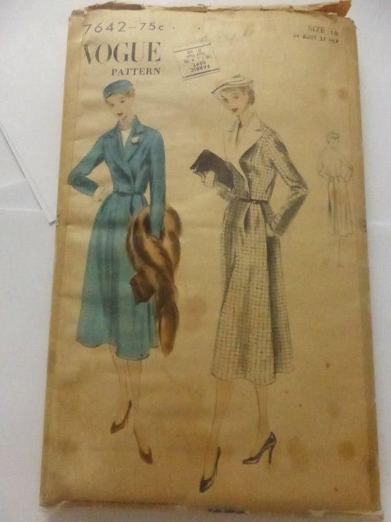 Vintage Vogue Pattern 7642 Misses Size 16 by VintagePatternDrawer