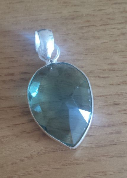 Faceted Blue Topaz Tear Drop Gemstone Pendant - 925 Silver