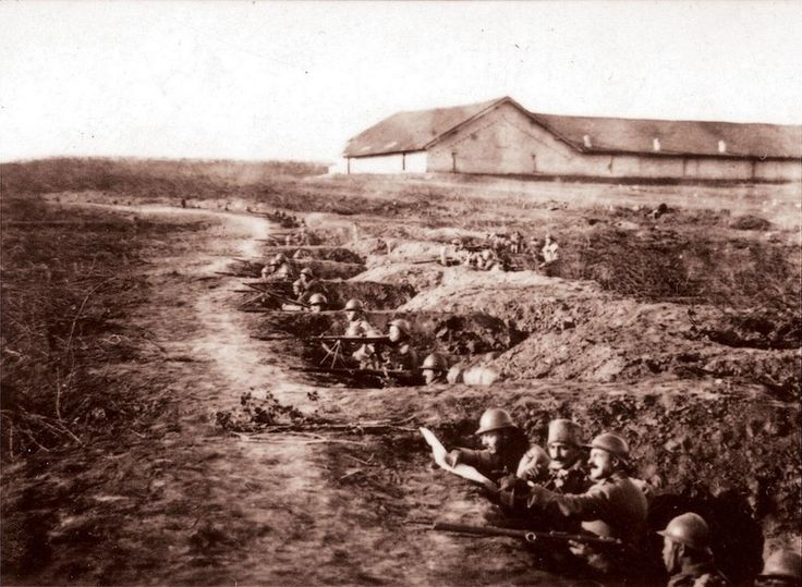 Román csapatok állásaikban, Mărășești határában