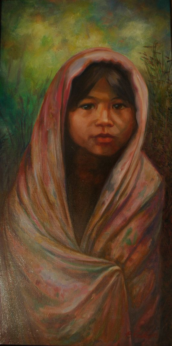 """Oil Painting """"Silk Blanket"""" Oil painting inspired by the everyday beauty of life in Bali, Indonesia. on Etsy, $1,195.00"""