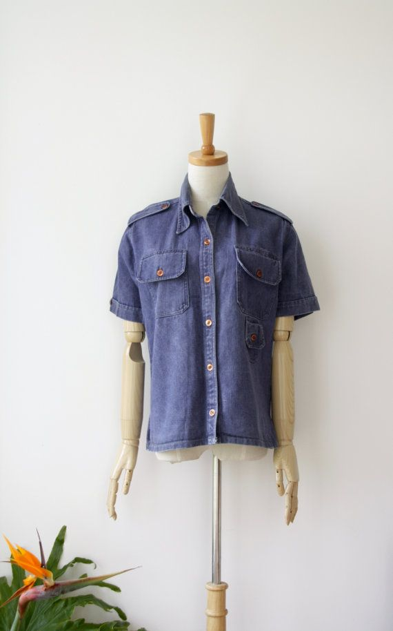 Vintage denim shirt. Workers shirt. Short by ForestHillTradingCo