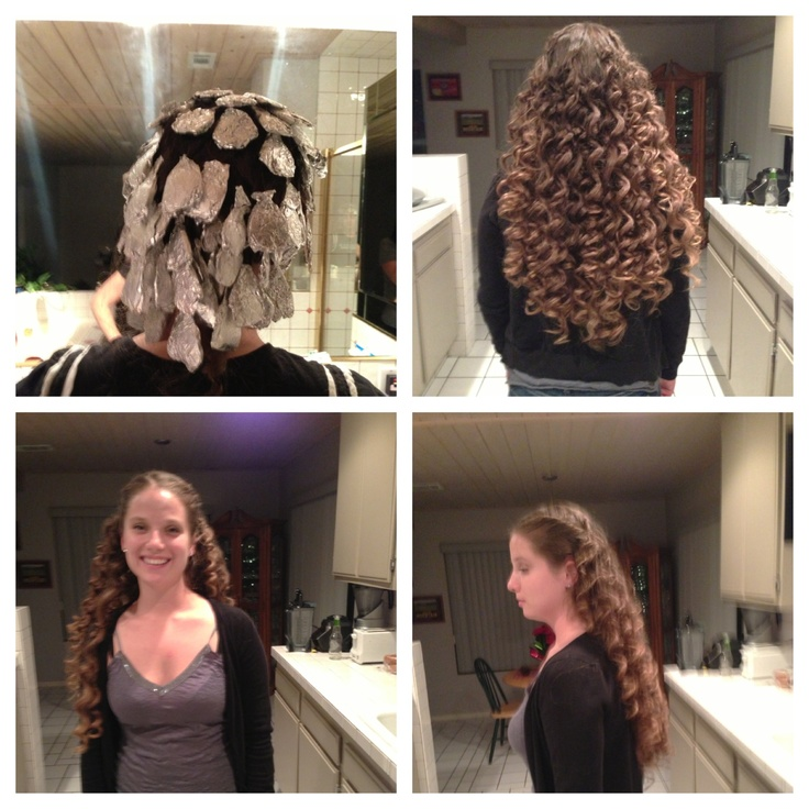 Foil curls, yes they work! Section hair, curl around finger. Stick the coil in a tinfoil square and put it in your flat iron. Work your away from neck up. Leave the foil in until the end and hit each square with the flat iron again. PULL the foil out. Don't push the curls. Hit with hairspray and voila!