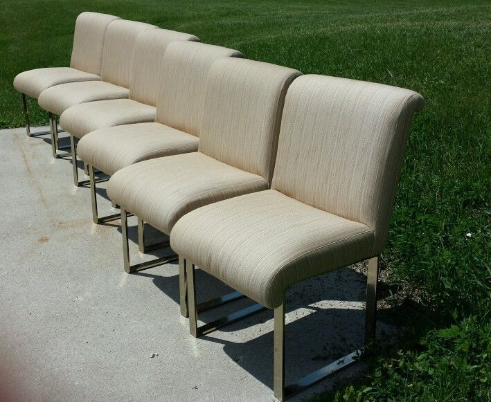 Set of 6 milo baughman mid century dining chairs new upholstery