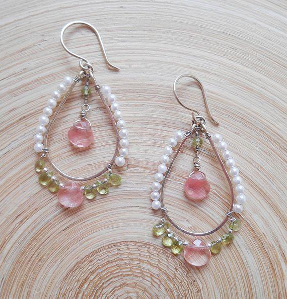 Jillian gemstone beaded hoop earrings green pink bridal jewelry cherry quartz peridot pearl streling silver August birthstone Valentine gift