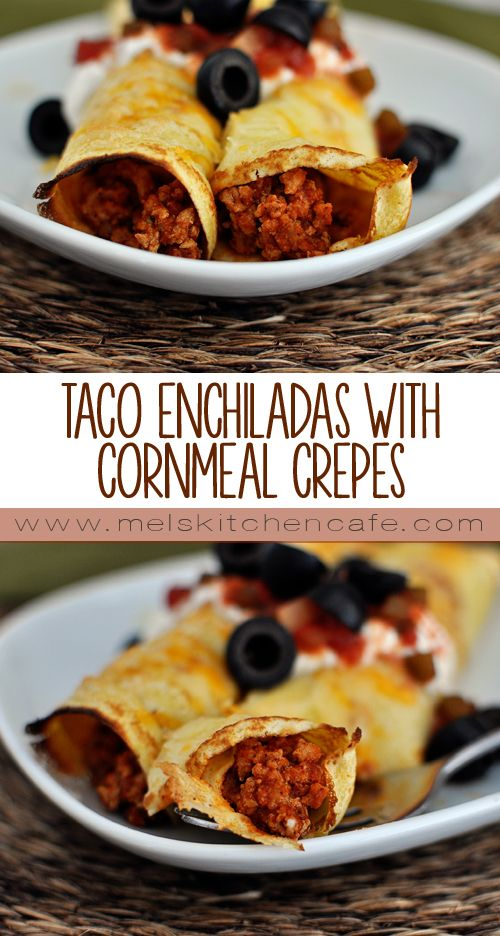 These Taco Enchiladas with Cornmeal Crepes are absolutely outstanding. Talk about taking taco night to a whole new level!