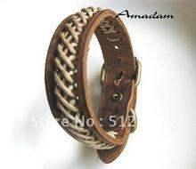 Sl044 / pulsera de cuero, alta calidad de punto ocasional de la pulsera del zurriago, joyería de moda, 100% cuero genuino, 100% hechos a mano joyas(China (Mainland))