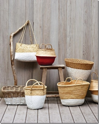Dip-dye baskets and more. How fun is that?: Dipped Baskets, Ideas, Craft, Dip Dyed Baskets, Martha Stewart, Diy, Dips